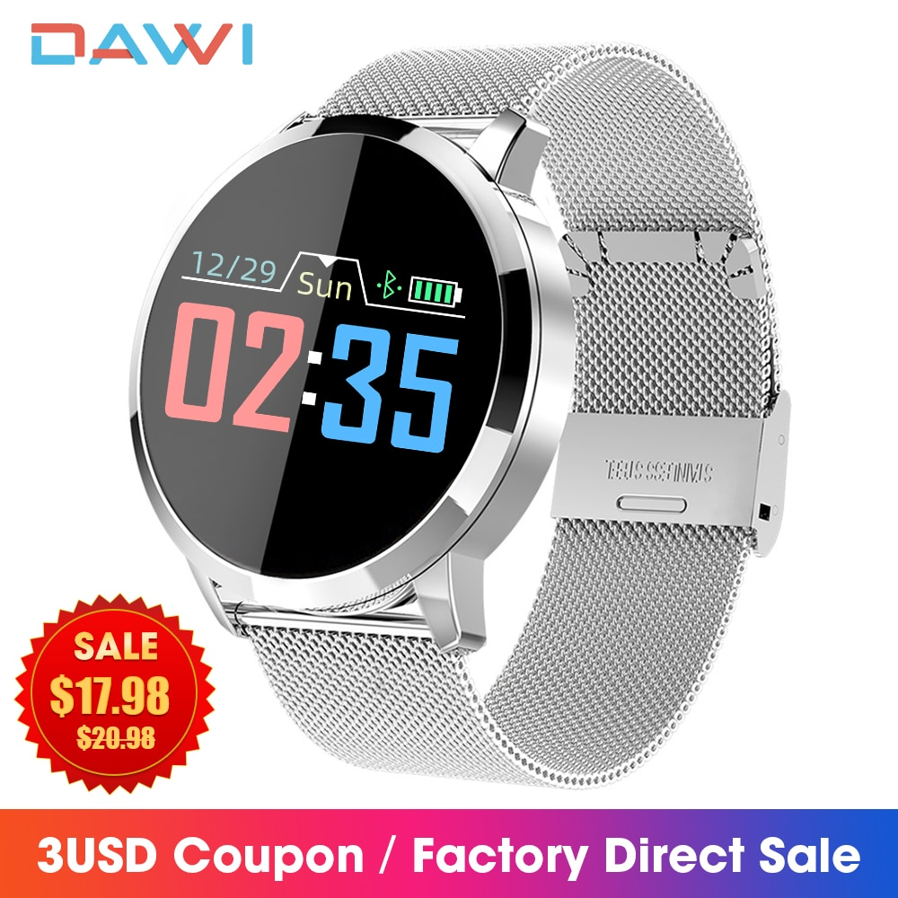 DAWI Relogio Inteligente Smart Watch OLED Color Screen Fitness Tracker Heart Rate Monitor Men Women