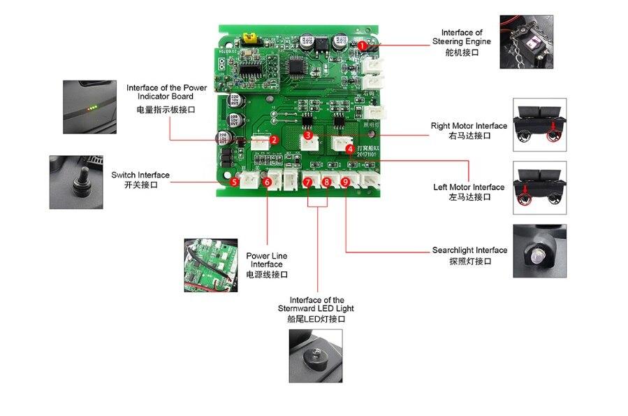 Flytec 5 geração rc barco casco placa de circuito para remoto armazém duplo inventor peixe isca de pesca elétrica peças do motor duplo