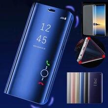 Pour Samsung Galaxy A50 couverture coque de téléphone de luxe Smart miroir vue rabat Fundas pour Samsung A 50 A50s 2019 Smartphone couverture noir