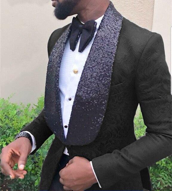 2020 أحدث معطف بانت تصاميم الترتر التلبيب حزب الدعاوى الأسود سهرة يتأهل الرجال الزفاف بدلة 2 قطعة مجموعة العريس أفضل رجل سترة