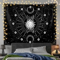 sun and moon tapestry psychedelic black and white mountain wall hanging hippie mushroom tapestry wall rugs dorm decor blanket