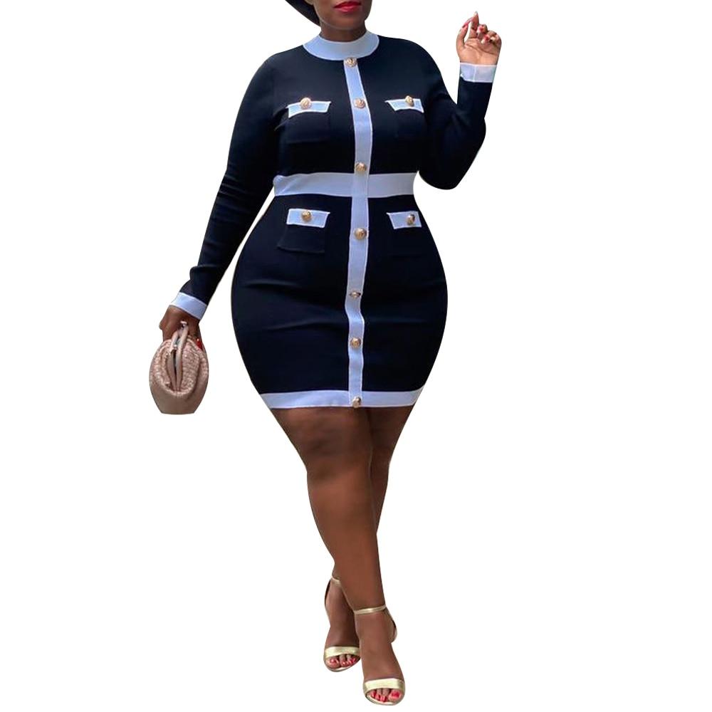 Sale Vintage Elegant Contrast Color Patchwork Wear to Work vestidos Business Party Office Women Plus Size Bodycon Slim Dress D30