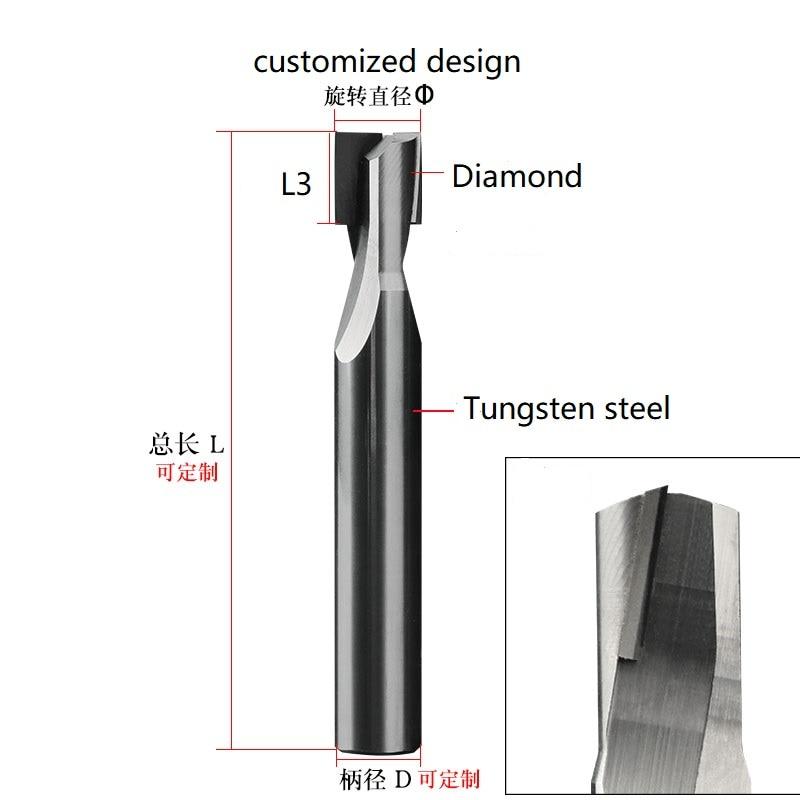 الماس مستقيم الناي القاطع الجرافيت PCD نهاية مطحنة CNC راوتر بت تلميع أدوات مخرطة للخشب كربيد السيليكون