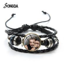 Johnny Hallyday Leder Armband Männer Rock Sänger Kunst Glas Bild Gedruckt Multilayer Woven Armbänder Armband für Fans