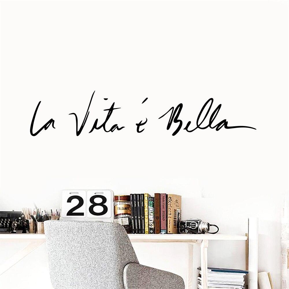 WJWY виниловые наклейки на стену в скандинавском стиле La Vita E Bella итальянские фразы зеркала настенные художественные наклейки фрески домашний...