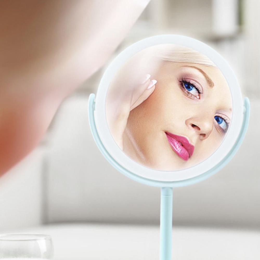 Miroir grossissant maquillage LED Mirrow vanité miroir rond Double face miroirs éclairés pour salle de bain chambre Type de charge vert