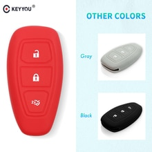 Keyyou-étui pour clé de voiture   En Silicone, 3 boutons, protection pour 2013 2014 Ford Mondeo, pour clé de voiture intelligente