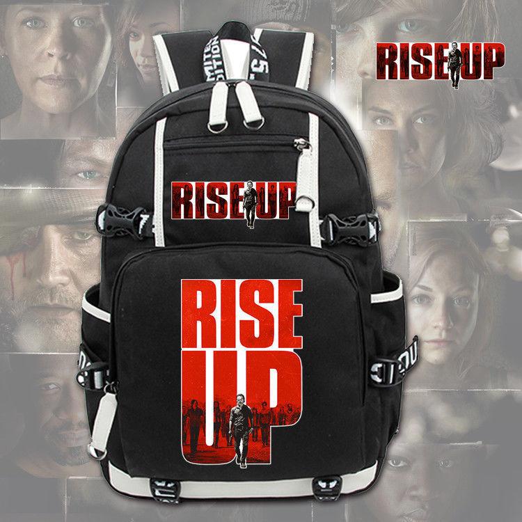 Mochila para hombre The Walking Dead Rise Up, mochila Otaku, mochila negra para estudiantes