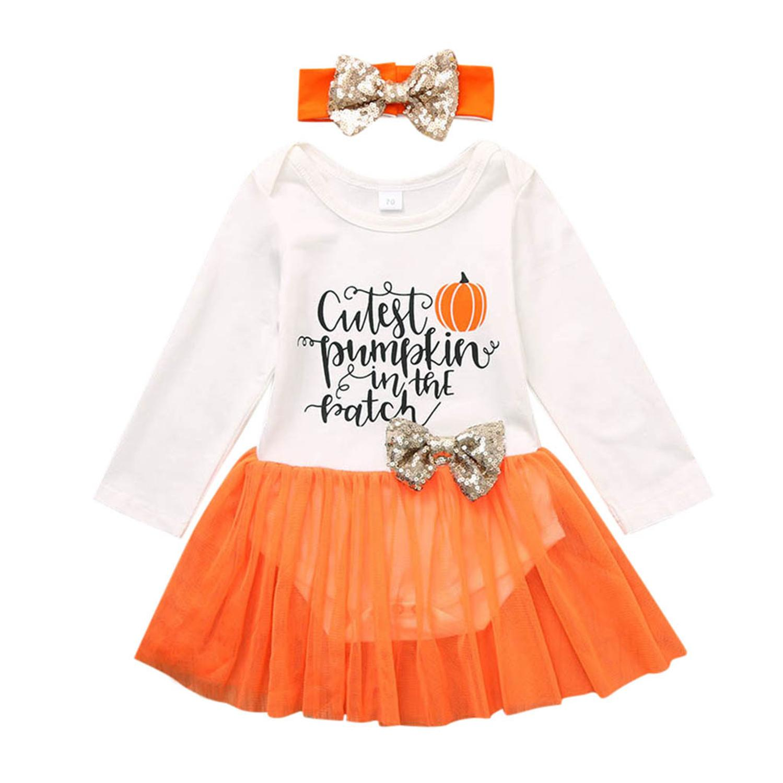 Lindo vestido de niñas 2019 nueva niña de manga larga de Halloween carta mameluco vestido de tul + diadema edad 3-24 meses Ropa