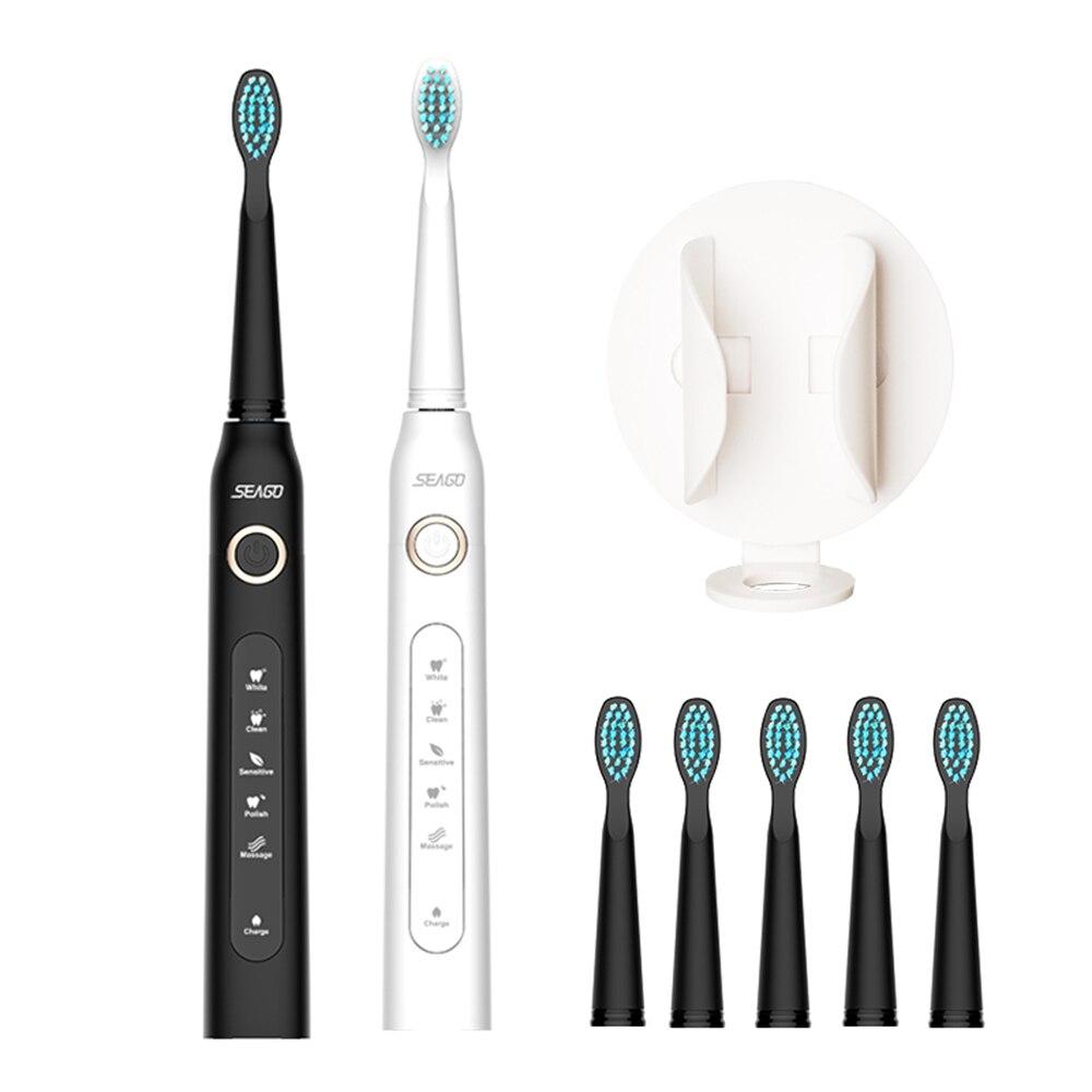 ¡Cepillo de dientes eléctrico con onda sónica recargable de alta calidad Chip inteligente cabeza de cepillo de dientes reemplazable blanqueamiento saludable mejor regalo!