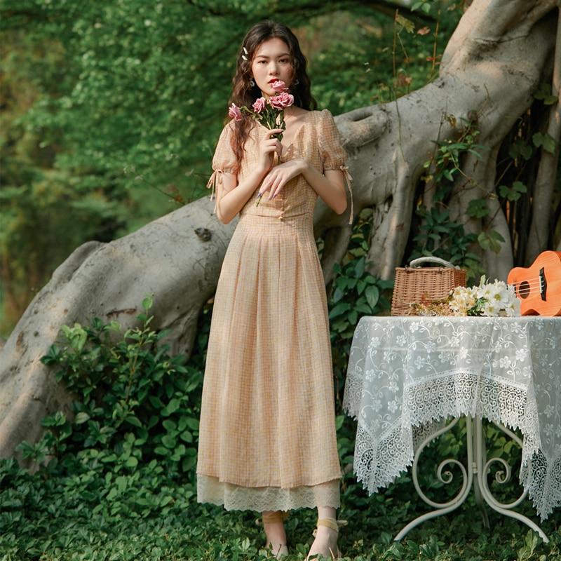 2020 new fashion women's clothing V-Neck  A-Line  Plaid  Vintage  dress women