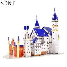 Novo cisne pedra castelo quebra-cabeças para crianças 3d papel modelo de jogos brinquedos educativos mundo atrações construção caixa de quebra-cabeça brinquedos para crianças