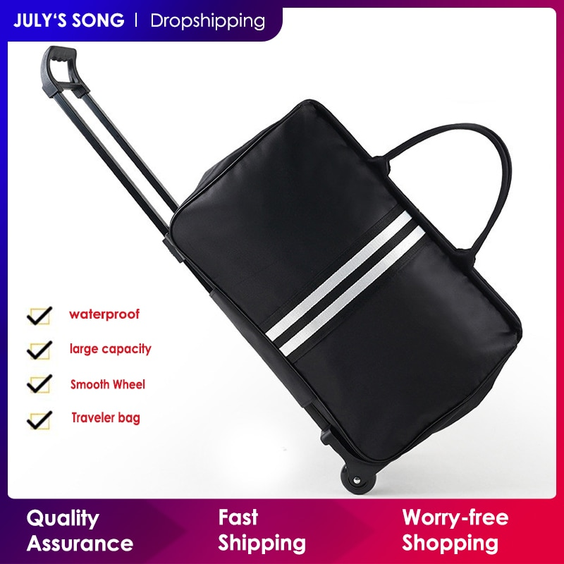 JULY'S SONG Men Luggage Bags Trolley Travel Bag With Wheels Rolling Carry on Suitcase Bag Wheeled Wo