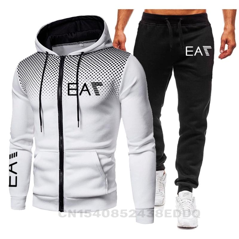 Yeni marka erkek moda Hoodie spor erkek giyim koşu rahat eşofman erkek koşu spor takımları SweatshirtPant 2 adet setleri