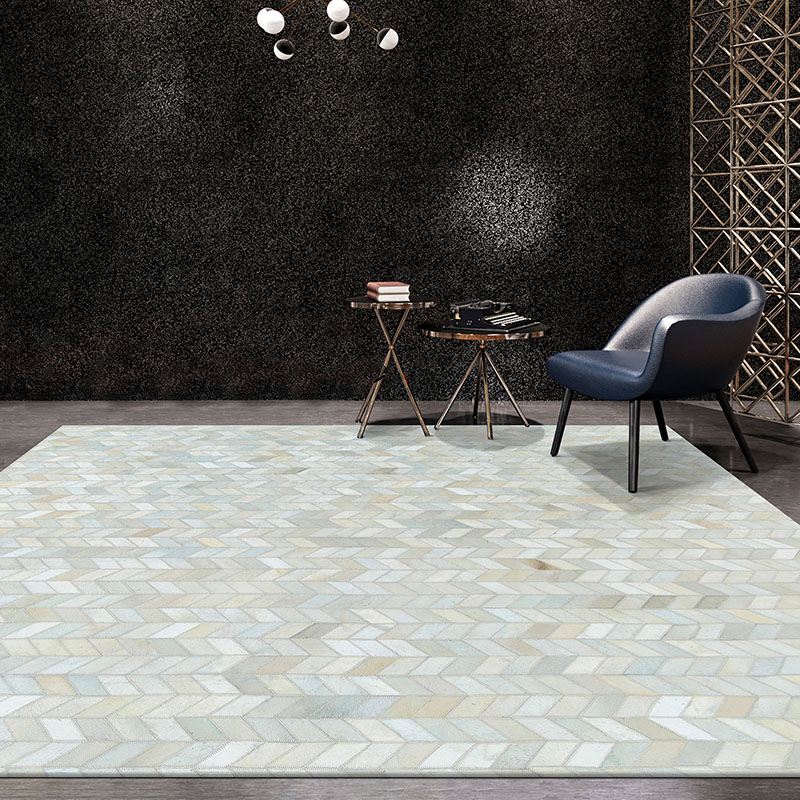Americano de Luxo Tapete para Sala Estilo Couro Seamed Tapete Moderno Natrual Cor Branca Pura Cowskin Chequer Estar Decoração