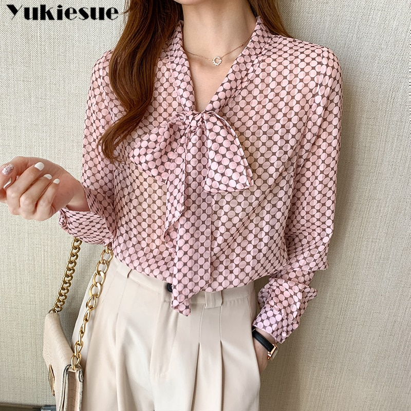 Women Long Sleeve Shirts dot printed Blouses Vintage Korean 2021 Spring Sweet Bow Loose Ladies Blouse Office Lady tops