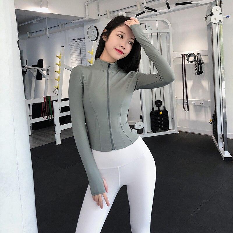 Annerun سليم صالح معطف رياضي أنثى قصيرة الجافة تشغيل اللياقة البدنية العليا زيبر الجوارب مثير ملابس لليوجا