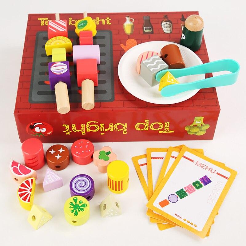 Имитация барбекю, деревянные игрушки, кухонный набор, детская развивающая игрушка, ролевая игра, гриль, приготовление пищи, подходящая игра,...