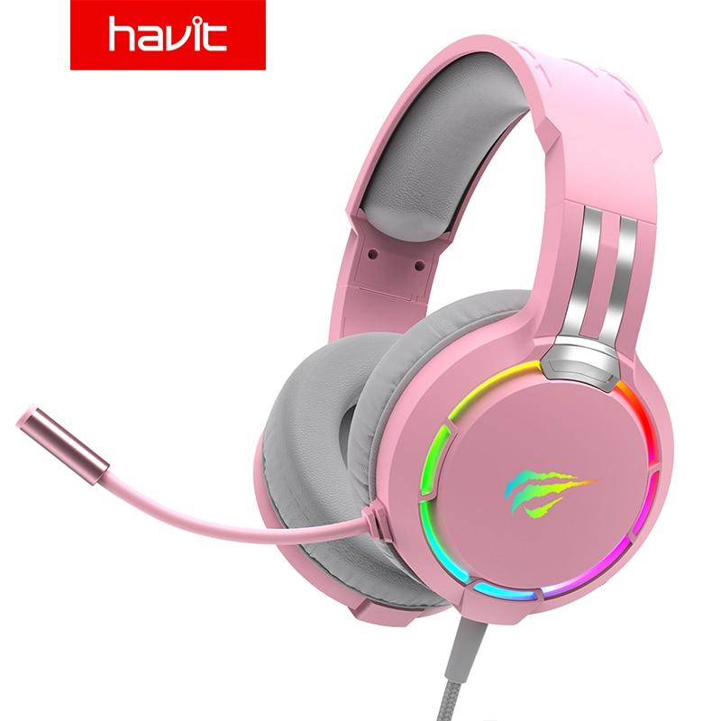 Havit-سماعة ألعاب احترافية RGB ، وسماعات رأس سلكية قابلة للتعديل ، وباس ستيريو ، ومفتاح ميكروفون