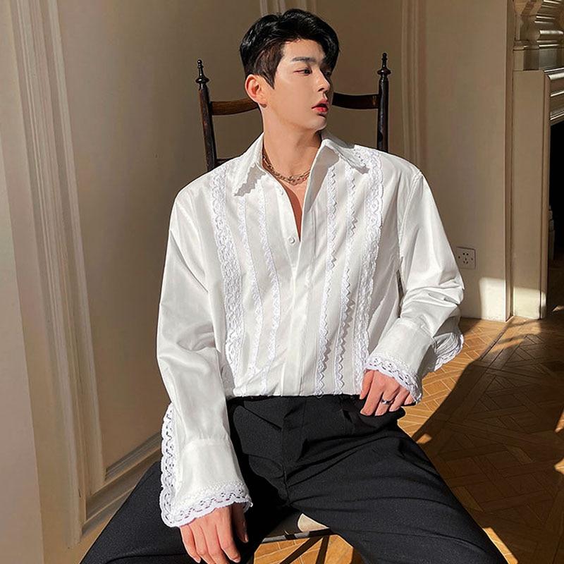 2021 الرجال الدانتيل لصق خمر موضة فضفاضة عادية كم طويل ابيض قمصان بلايز الكورية موضة عرض فستان قميص للرجل