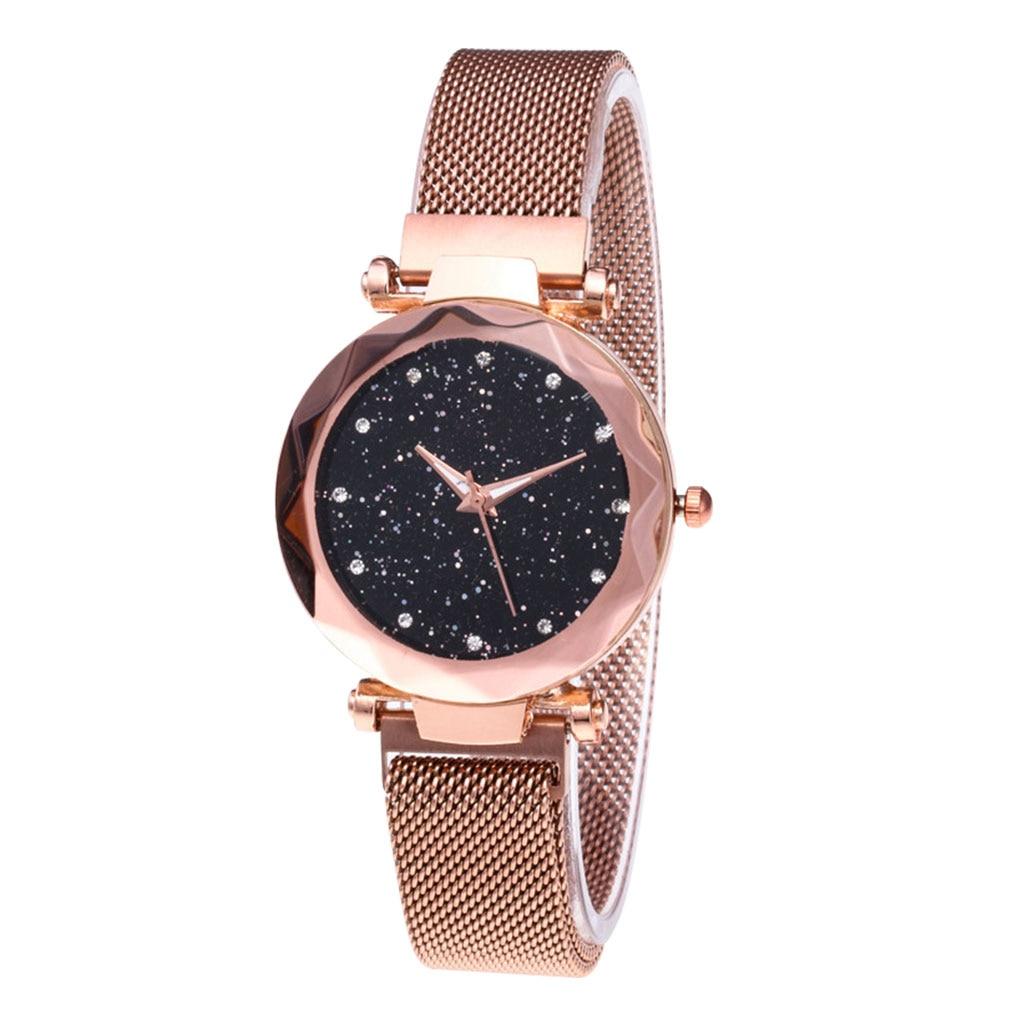 Women Star Sky Watch Mesh Band Analog Quartz Girlfriend Bracelet Wristwatch Holiday's Gift