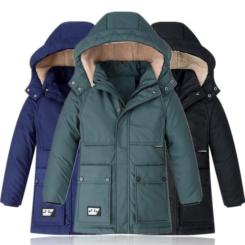 30 graus de inverno criancas casacos engrossar quente com capuz casacos longos para