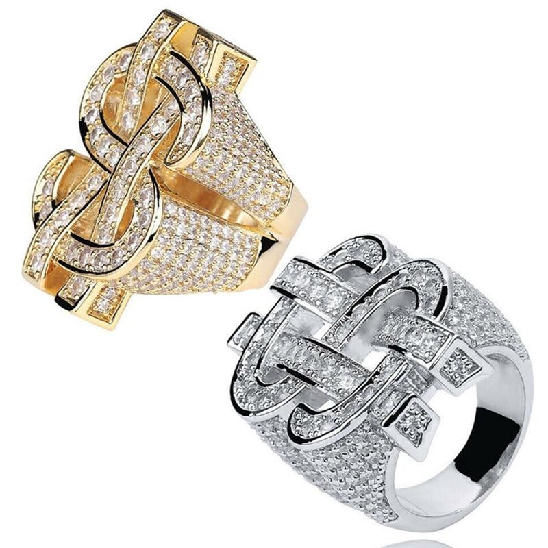 Fashion Rock Iced Out Bling Goud Zilver Kleur Us Dollar Teken Ringen Aaa Kubieke Zirkoon Hip Hop Ring Voor Mannen sieraden