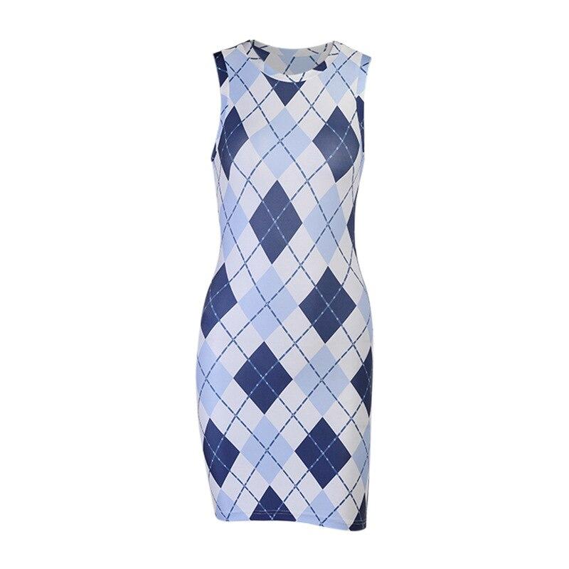 QWEEK Summer Women's Dress 2021 Geometric Sleeveless Bodycon Tank Mini Short Dress sundress Casual O-neck Sheath Streetwear