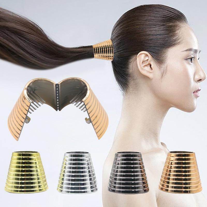 New Fashion Women Punk Gothic Hair Ring Fake Metal Hair Cuff Ponytail Clip Tie Holder Hair Band Elastic Wrap Hair Accessories