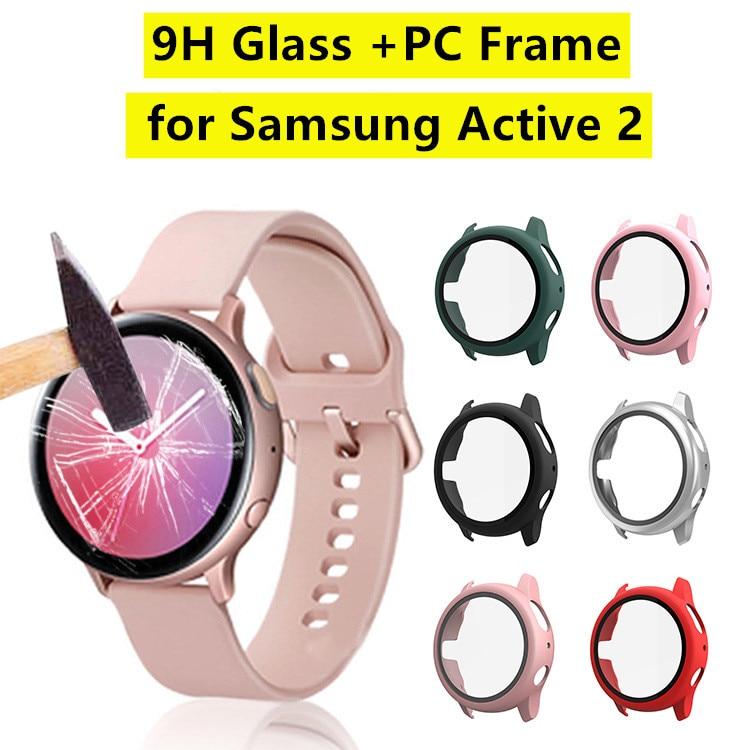360 Protector de pantalla completa PC marco 9H caja de reloj de cristal para Samsung Galaxy Watch Active 2 Protector de película de parachoques para active2 40 44mm