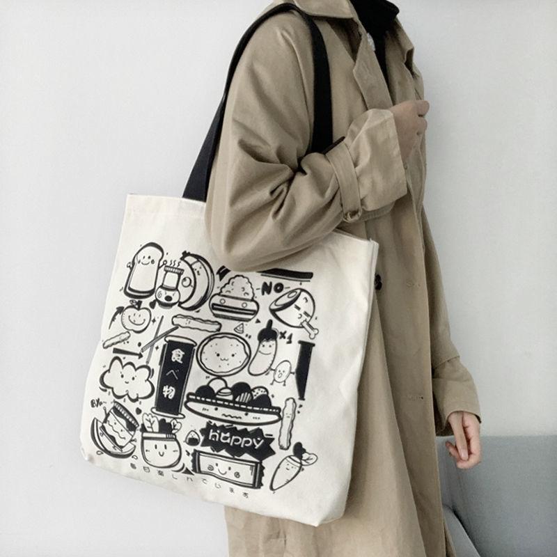 Korean Fashion Canvas Shoulder Bag With Zipperjapanese Ulzzang Harajuku Tote Shopping Bag Large Capacity Handbags With Anime female shopper bag cartoon handbags canvas bag for women fashion large capacity fun tote bag anime harajuku canvas shoulder bag