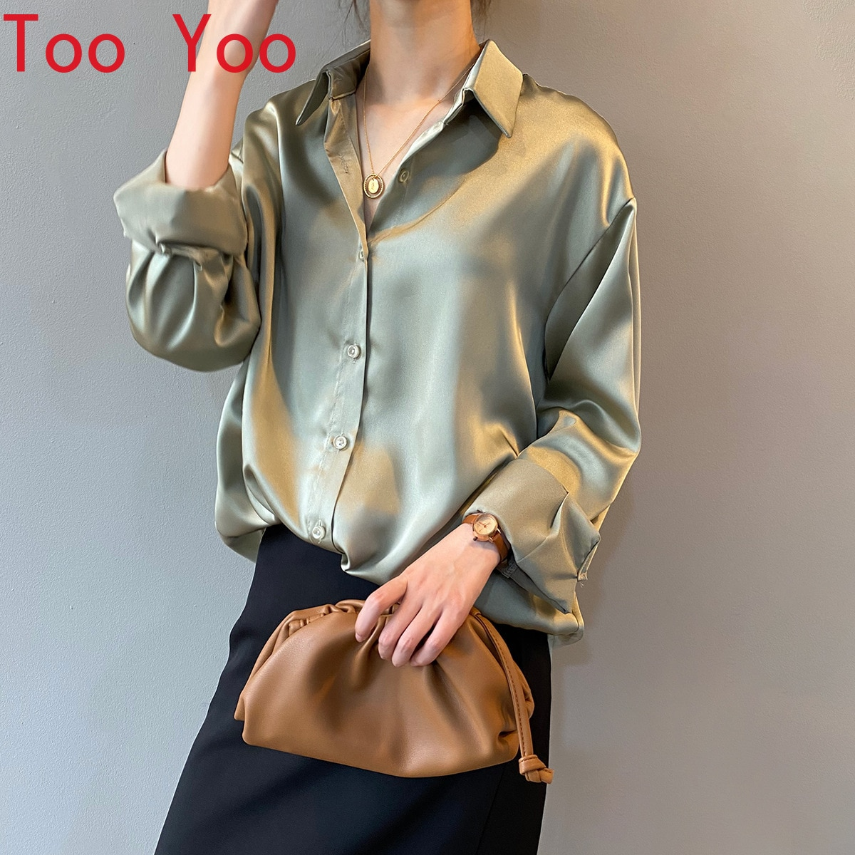 Spring 2021 Korean edition of pure color temperament loose slim long sleeves lapel blouse woman shirts for men  men clothing