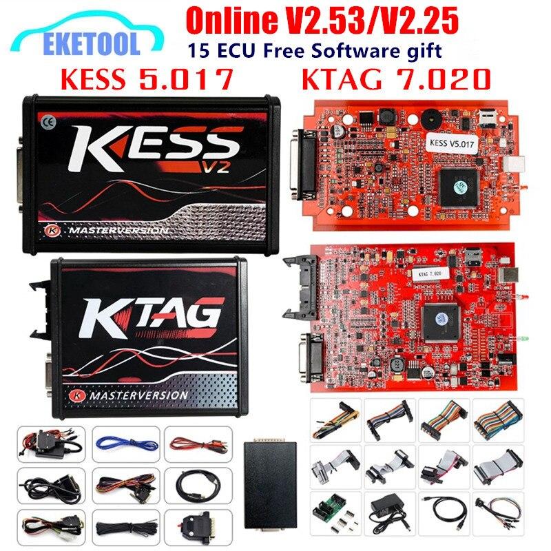 Versión europea KESS 5.017 V2.53 4LED KTAG V7.020 V2.25 rojo PCB en línea KESS 5.017 V2.53 sin Token K TAG 7.020 OBD2 programador Chip ECU