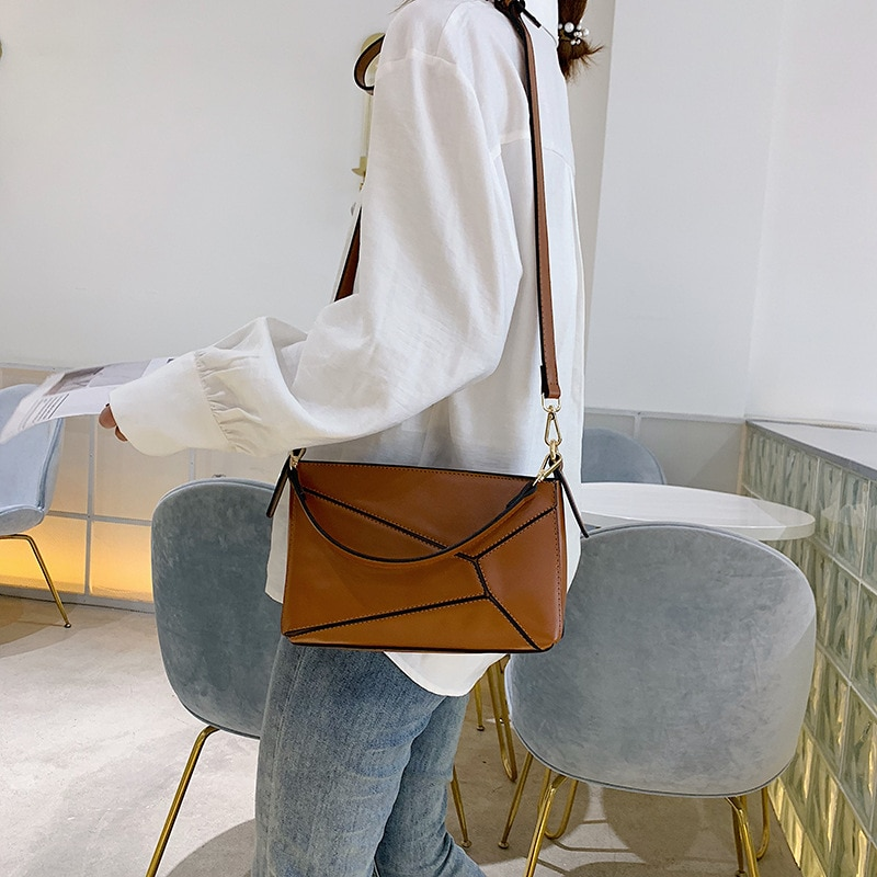 2019 nueva costura geometría pequeña bolsa cuadrada irregular tortuga espalda hombro slung mujer bolsa