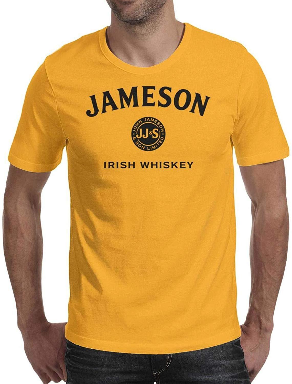 Hombres negro-logotipo-Jameson-irlandés whisky puro de manga corta Camiseta impresión de la