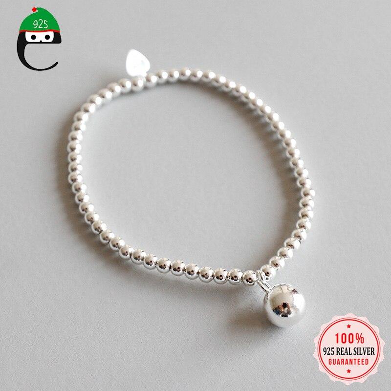 ElfoPlataSi, sólida plata esterlina 925 genuina, cadena de cuentas de 3mm, pulsera elástica de bola de 8mm para mujer, esposa, chica, dama, regalo DS2274