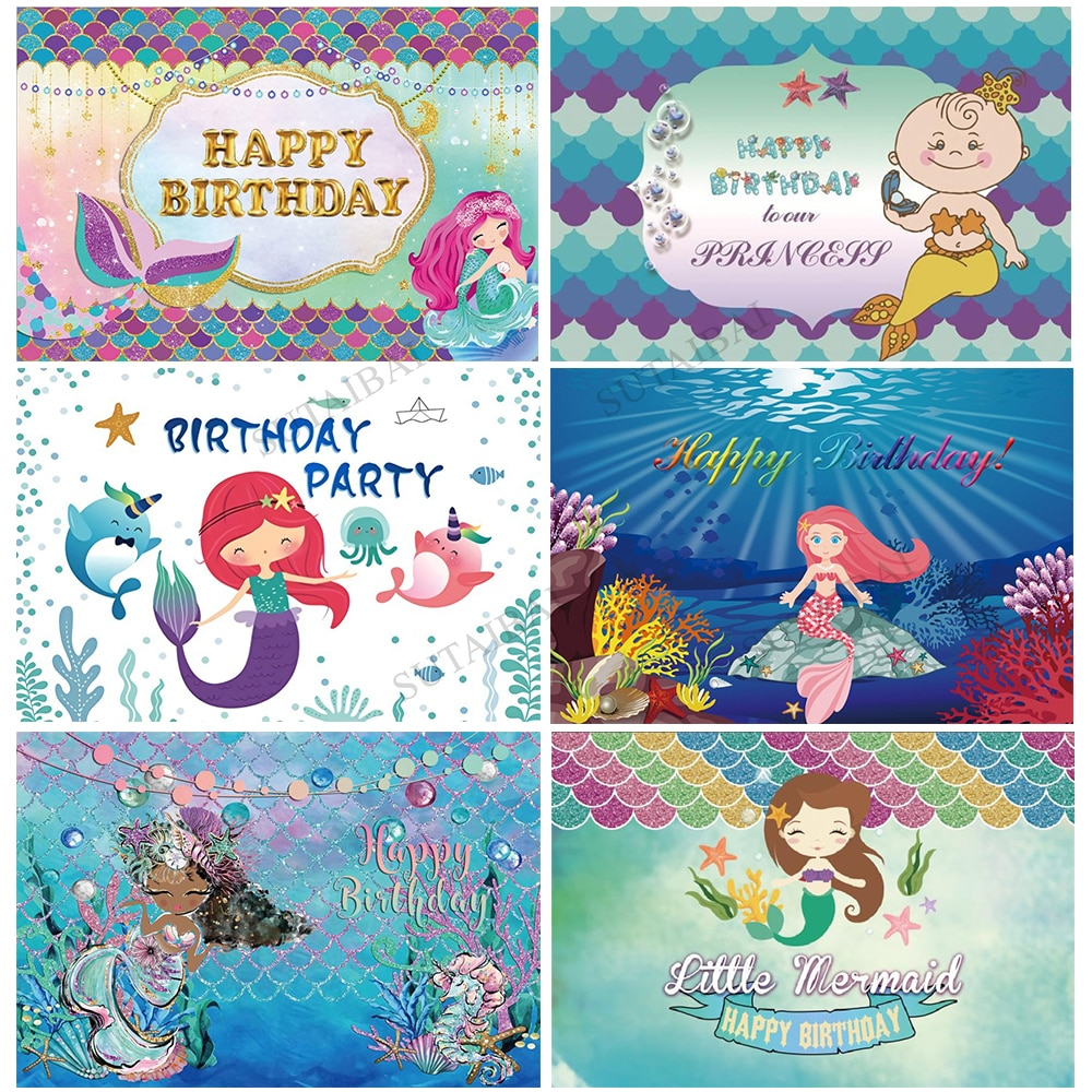 Little Mermaid Princess Under Sea Starfish Corals Backdrop Baby ShowerBirthday Party Photo Background Studio Photography Props