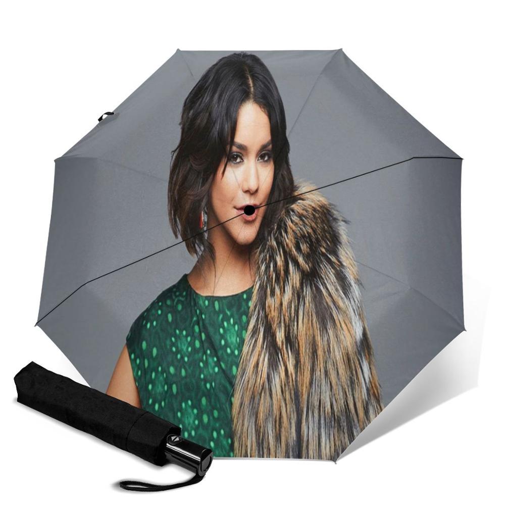 Vanessa Hudgens creative men's and women's automatic three fold umbrella rainy day colorful fashion umbrella