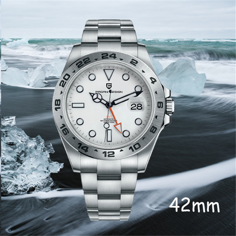 Pagani تصميم 2021 جديد الراقية الرجال ساعة أوتوماتيكية GMT المنطقة الزمنية مؤشر مضيئة 316L الفولاذ المقاوم للصدأ الفاخرة مقاوم للماء ساعة