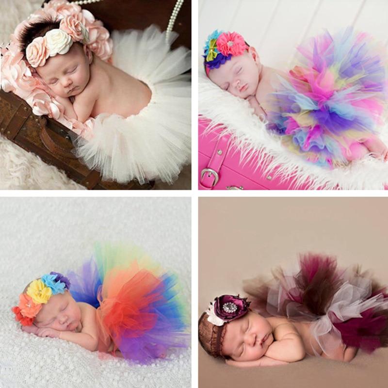 Recién Nacido fotografía apoyos de fotografía de bebé niña vestido de Tutu y Diadema bebé tiro foto disfraz arcoíris nuevo nacido Fotografia Accesorios