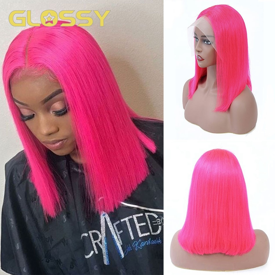 GLOSSY Pink Bob Straight Wig Lace Front Human Hair Wigs 13x4 HD Transparent Lace Frontal Wig Brazilian Hair Wig 250 Density