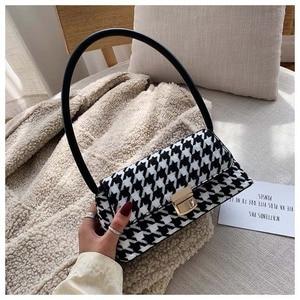 Luxury Lattice Shoulder Bags Women Pu Crossbody Bag Purses Ladies High Quality Panelled Scrub Messenger Bags Simple Underarm Bag
