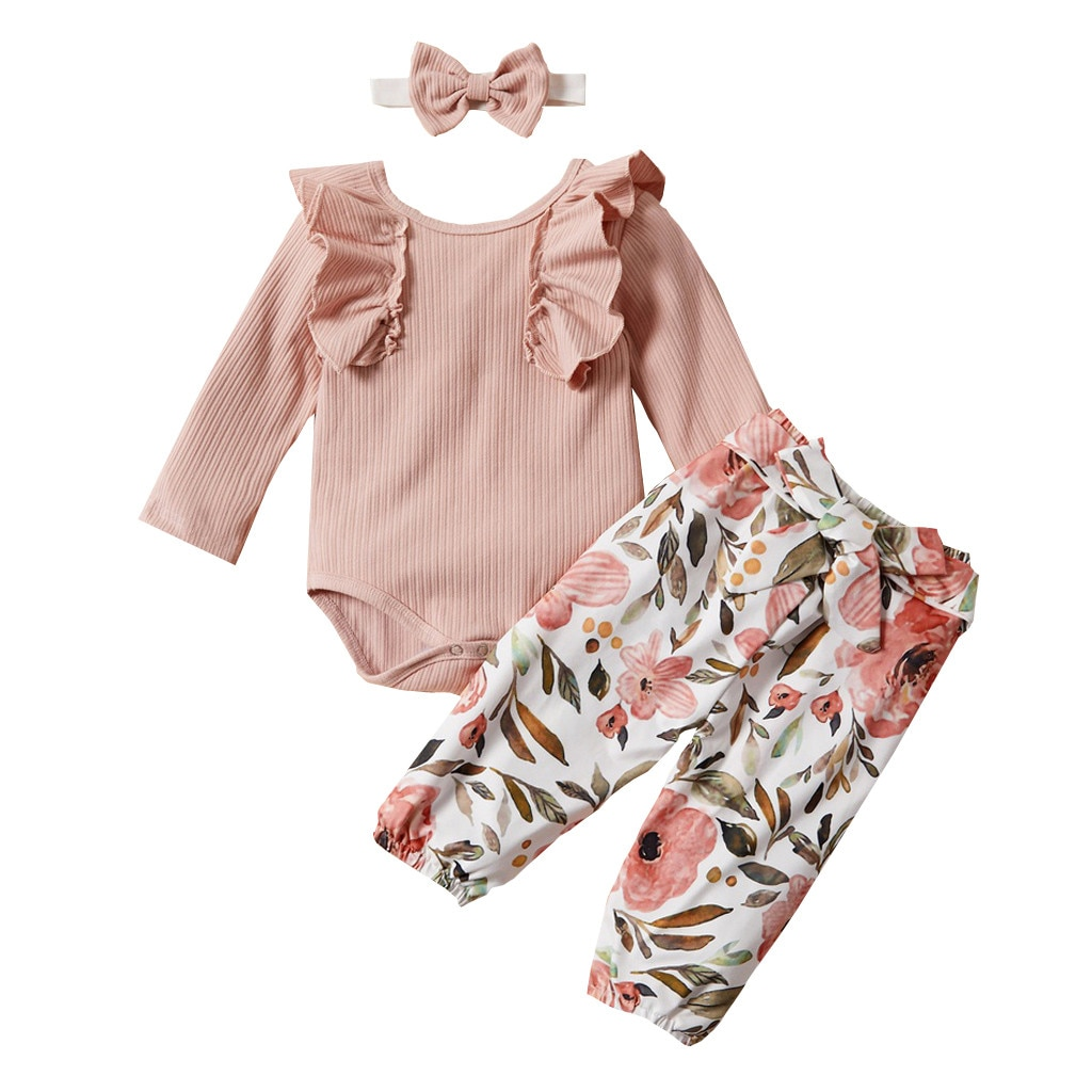 Ropa de bebé niña, ropa de recién nacido ropa niña одежда для новорожденных sólido volante mameluco + Pantalones de estampado floral + diadema traje #4