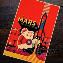Mars Rocket-affiche murale rétro classique   Affiche Kraft Vintage, peinture sur toile, autocollant diy, décoration de Bar maison, cadeau