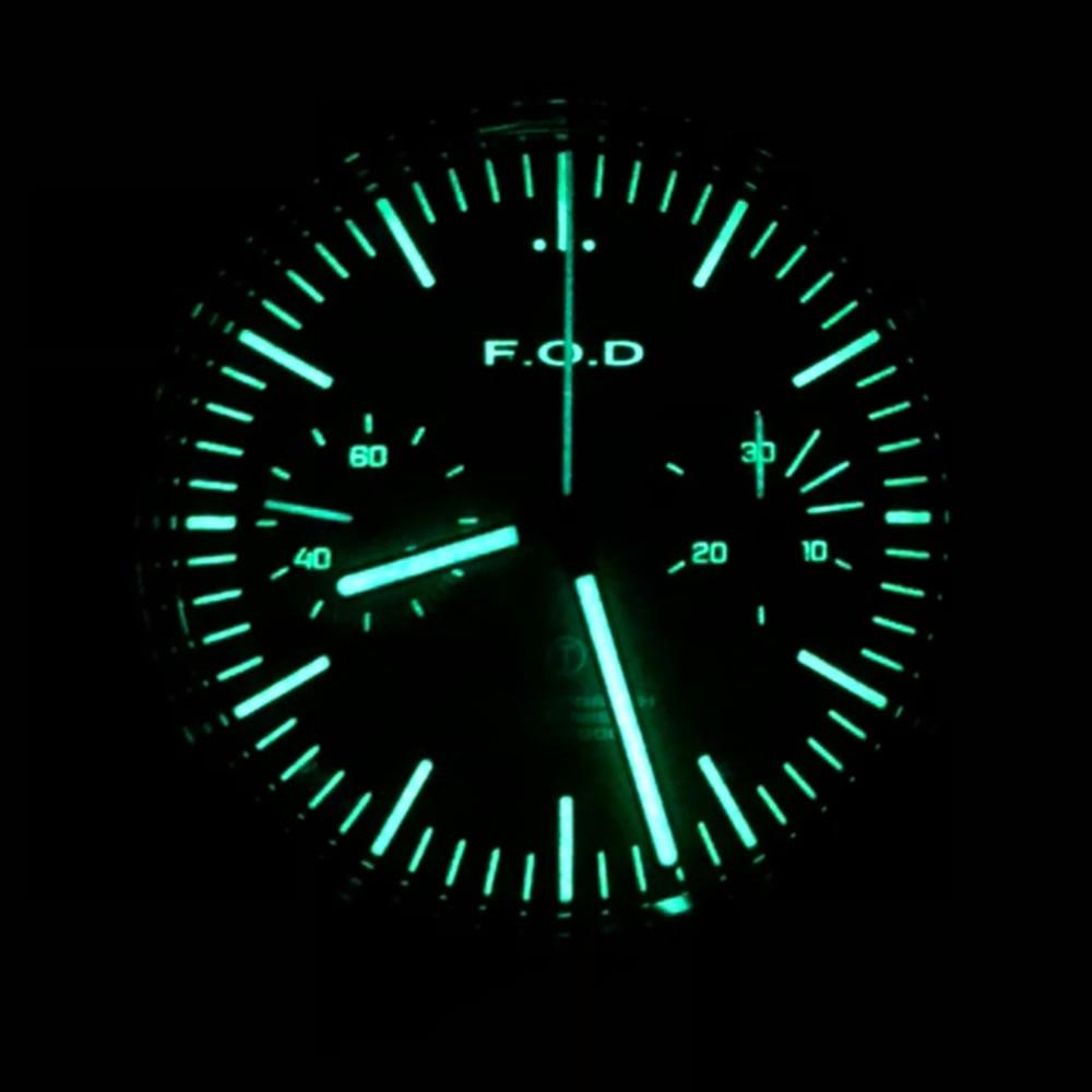 1963 Watch Men Pilot 38mm Chronograph Hand Wind Mechanical Wristwatch Air Force Retro Acrylic Stainless Steel Luminous Clock FOD
