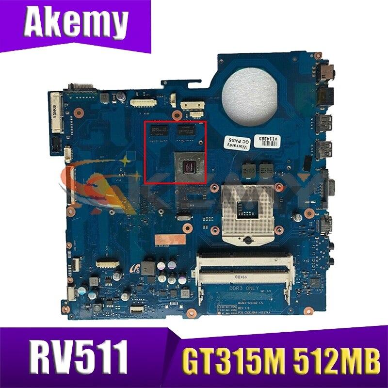 AKEMY لسامسونج RV511 اللوحة المحمول HM55 BA92-07404A BA92-07404B BA41-01423A غيفورسي 315M 512MB DDR3
