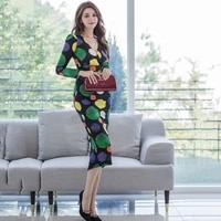 2020 autumn and winter new ladies temperament v neck slim long skirt fashion casual printing bag hip dress women