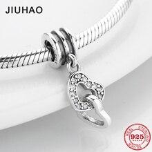 2019 yeni moda 925 ayar gümüş temizle CZ çift kalp ince kolye boncuk Fit orijinal Pandora Charms bilezik yapımı