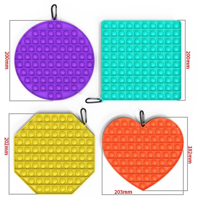 New BIG SIZE Fidget Toys Pops It Square Antistress Toy Push Bubble Sensory Squishy Jouet Pour Autiste For Adult Children Gift enlarge