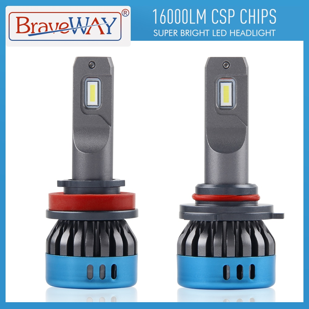 BraveWay-مصباح أمامي للسيارة LED ، لمبة ضباب ، 16000LM ، 9005 K ، 50W ، H1 ، H4 ، H7 ، H8 ، H11 ، 9006 HB3 ، 6500 HB4